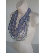 Maxi cascate Crochet Necklace Gray and Light purple - $19.00