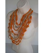 Maxi cascate Crochet Necklace Cream and Orange - $19.00