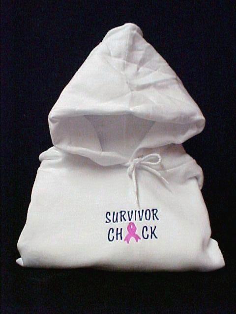 Survivor Chick Breast Cancer Pink Ribbon White Hoodie Sweatshirt 3X Unisex New