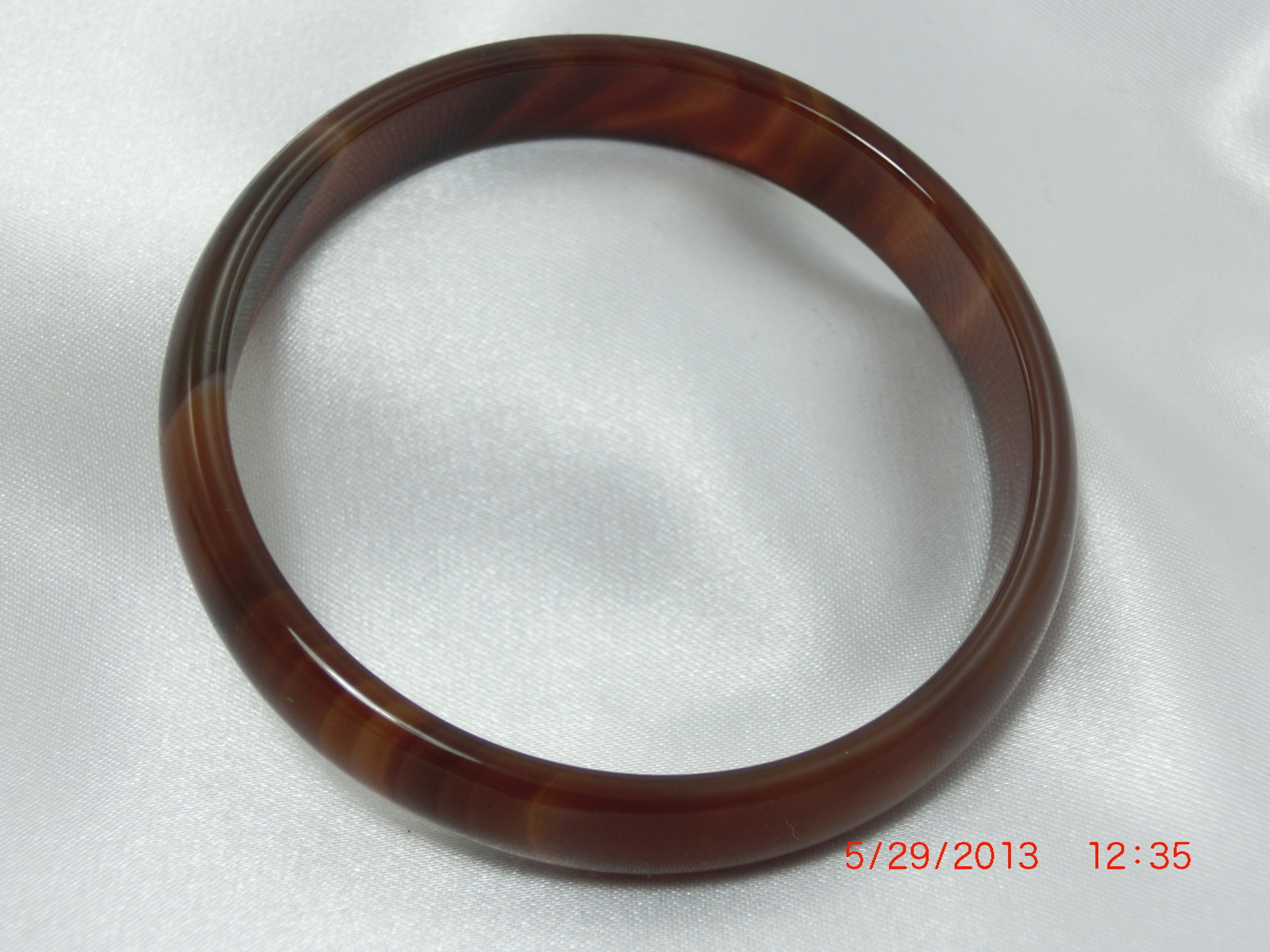 Unique genuine Gemstone  rich  BROWN AMBER Agate BANGLE BRACELET one size image 5