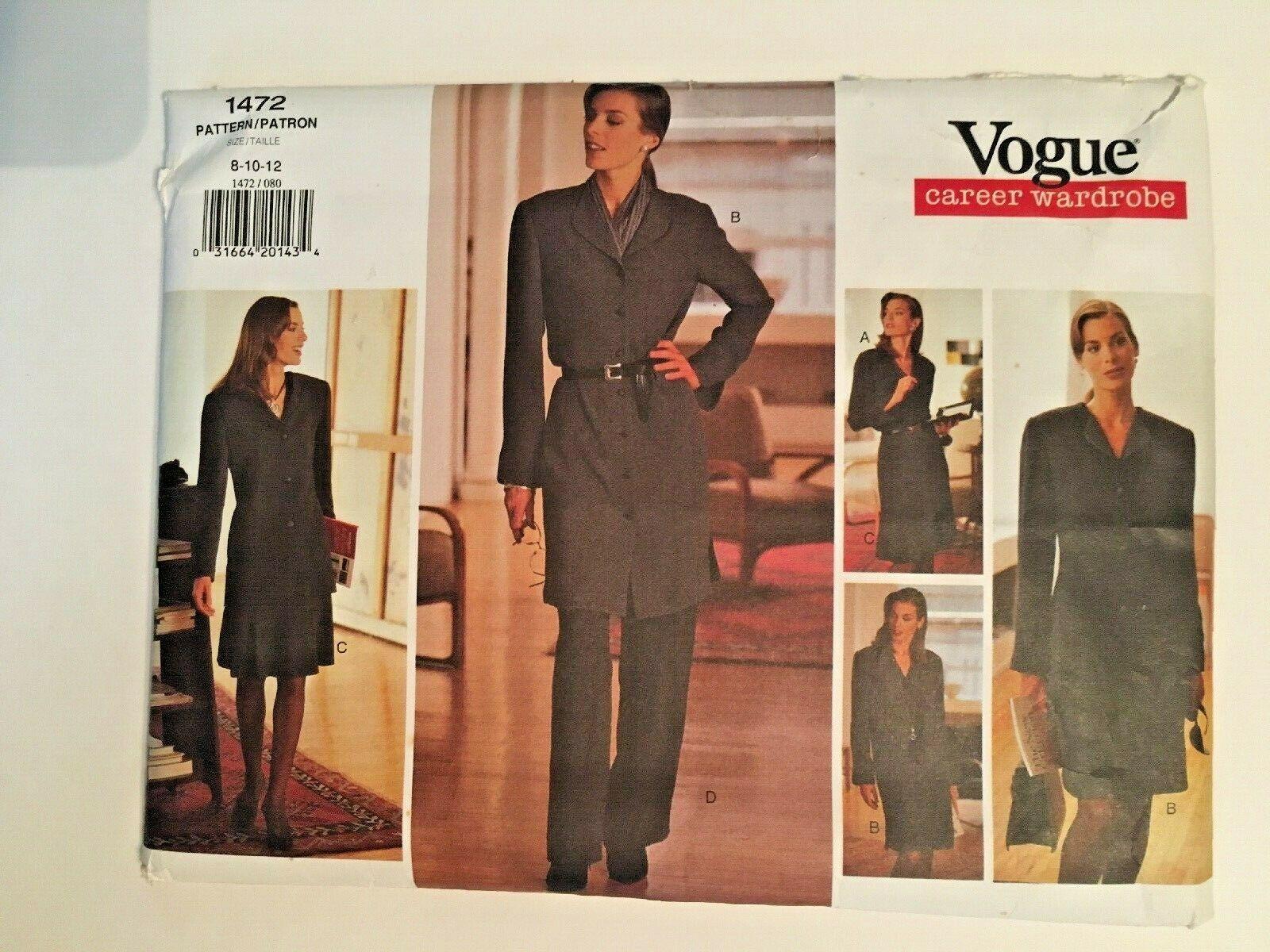 Vogue Sewing Pattern  # 1472 SZ  8-10-12 Dress ,Jacket, Pants, Skirt. Uncut