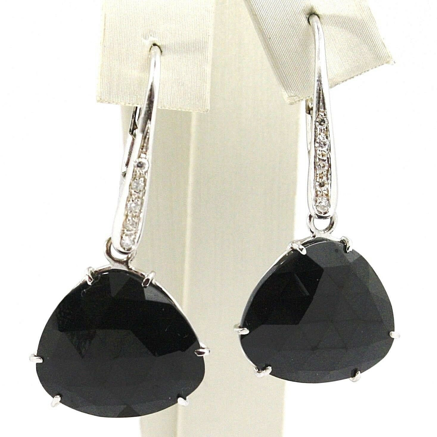 WHITE GOLD EARRINGS 750 18K, DROPS SPINEL BLACK, FACETED, DIAMONDS