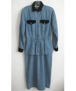 Long blue denim dress Peplum VTG 6 Maxi Black v... - $49.99