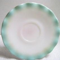 "Vintage Hazel Atlas Aqua Blue Ruffled  ""Crinoline"" Saucer - $12.00"