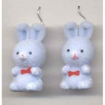Funky Cute FUZZY BUNNY EARRINGS Fun Easter Rabbit Toy Charm Costume Jewe... - $6.99