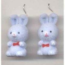 Funky Cute Fuzzy Bunny Earrings Fun Easter Rabbit Toy Charm Costume Jewelry Blue - $6.99