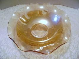 Jeanette Carnival Glass Iris Herringbone Marigold Bowl - $10.00