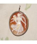 Antique Vintage Victorian 18K Shell Cameo Brooch Goddess Muse Pendant Ca... - $207.00