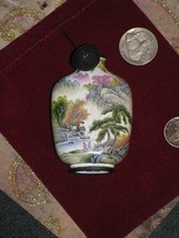 Chinese Landscape Mountains Temples Trees Enamel and Copper Snuff Bottle... - $250.00