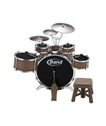 Complete Drum Set Full Mid Size 9 Pieces ~All in One Band ~ Wooden Stick... - $164.43