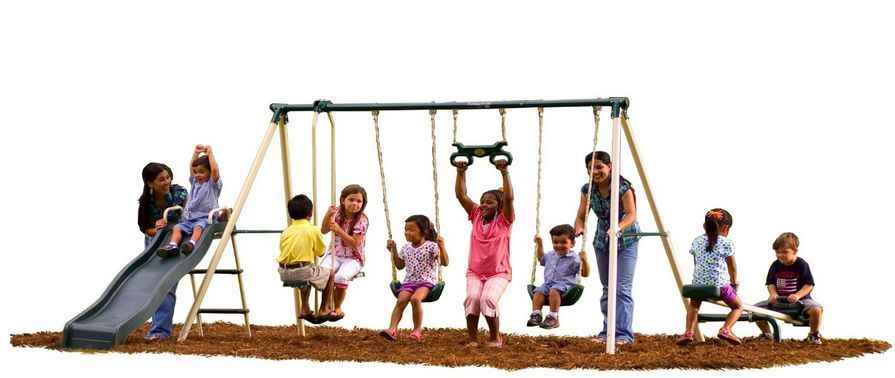 Primary image for Playset Children Swing Set Outdoor Backyard Seesaw Trapeze Kids Play Zone Steel