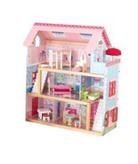 Girls Dollhouse Cottage With 17 Pieces of Furniture & Windows Doll House... - $129.65