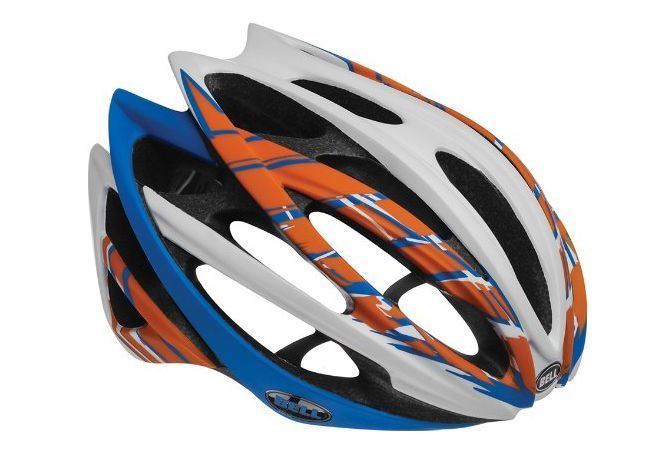 Primary image for Road Cycling Helmet Bike Pro Classic White Orange Blue Burnout ~ M ~ Adjustable