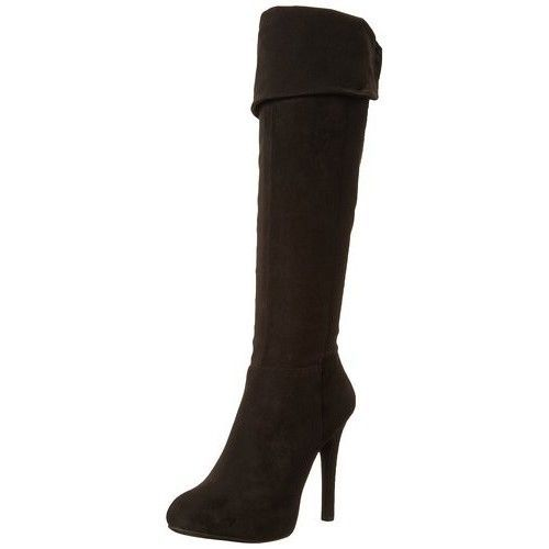 "Primary image for Women's Boots Sexy Over the Knee Size 7.5 Black 4.25"" Heel ~ Free Shipping"