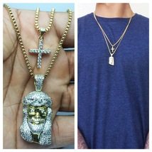 Brand New Mens Gold Mini Micro Jesus Piece And Cross Pendant Combo Set N... - $43.99