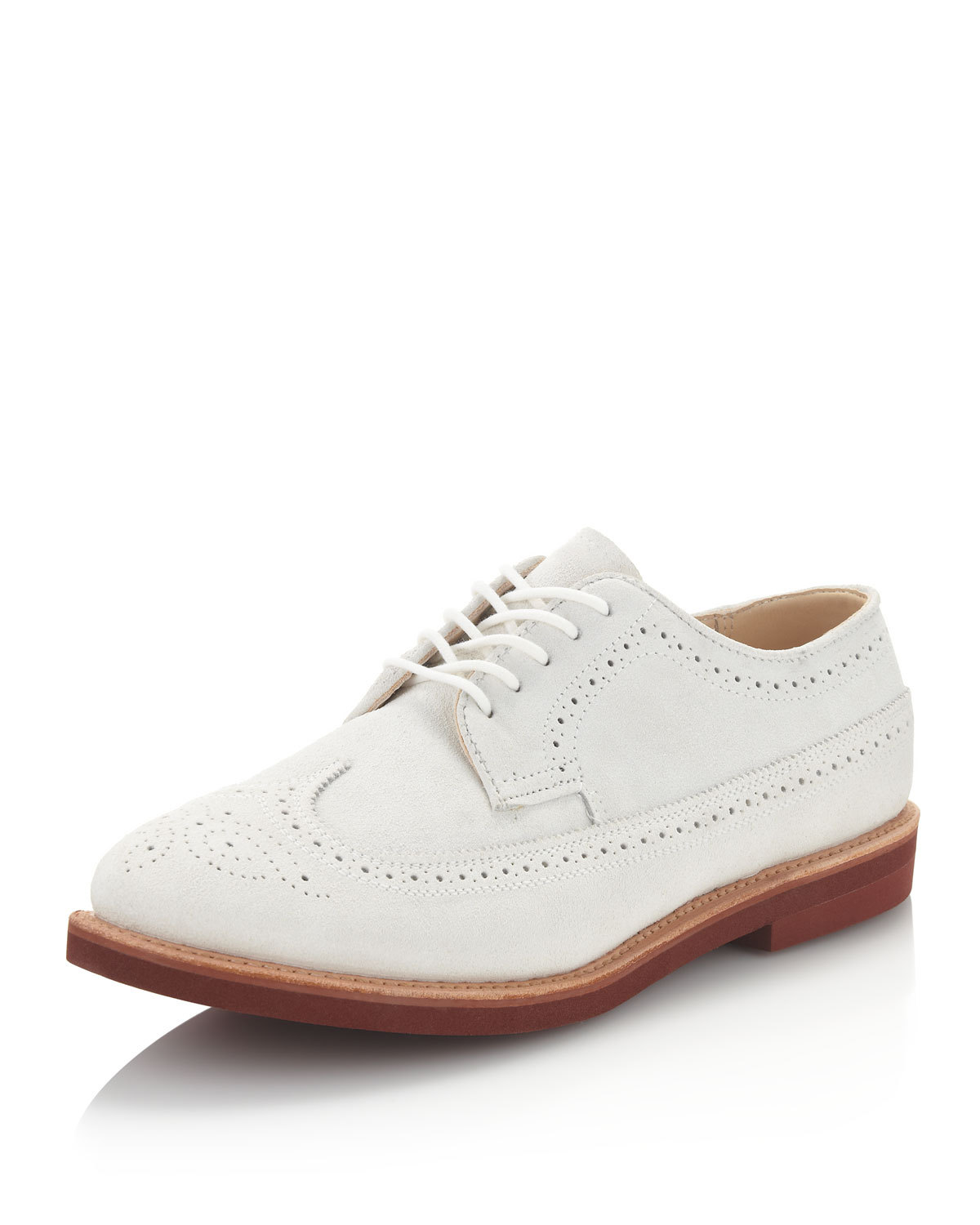 Clssic mens fashion white leather shoes, Mens wingtip white leather shoes