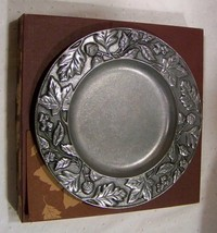 "Longaberger New Falling Leaves 8"" Metalware Metal Plate Candle Holder - $22.48"