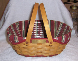 Longaberger 2004 Get Together Basket Combo Red Trim Christmas Collection - $39.20