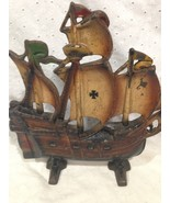 Painted Wrought Iron Ship Doorstop Door Stop - $39.15