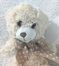 Baxters Bears 8 Inch Small Cuddley Off White Bear With A Brown Polka Dot Bow image 2