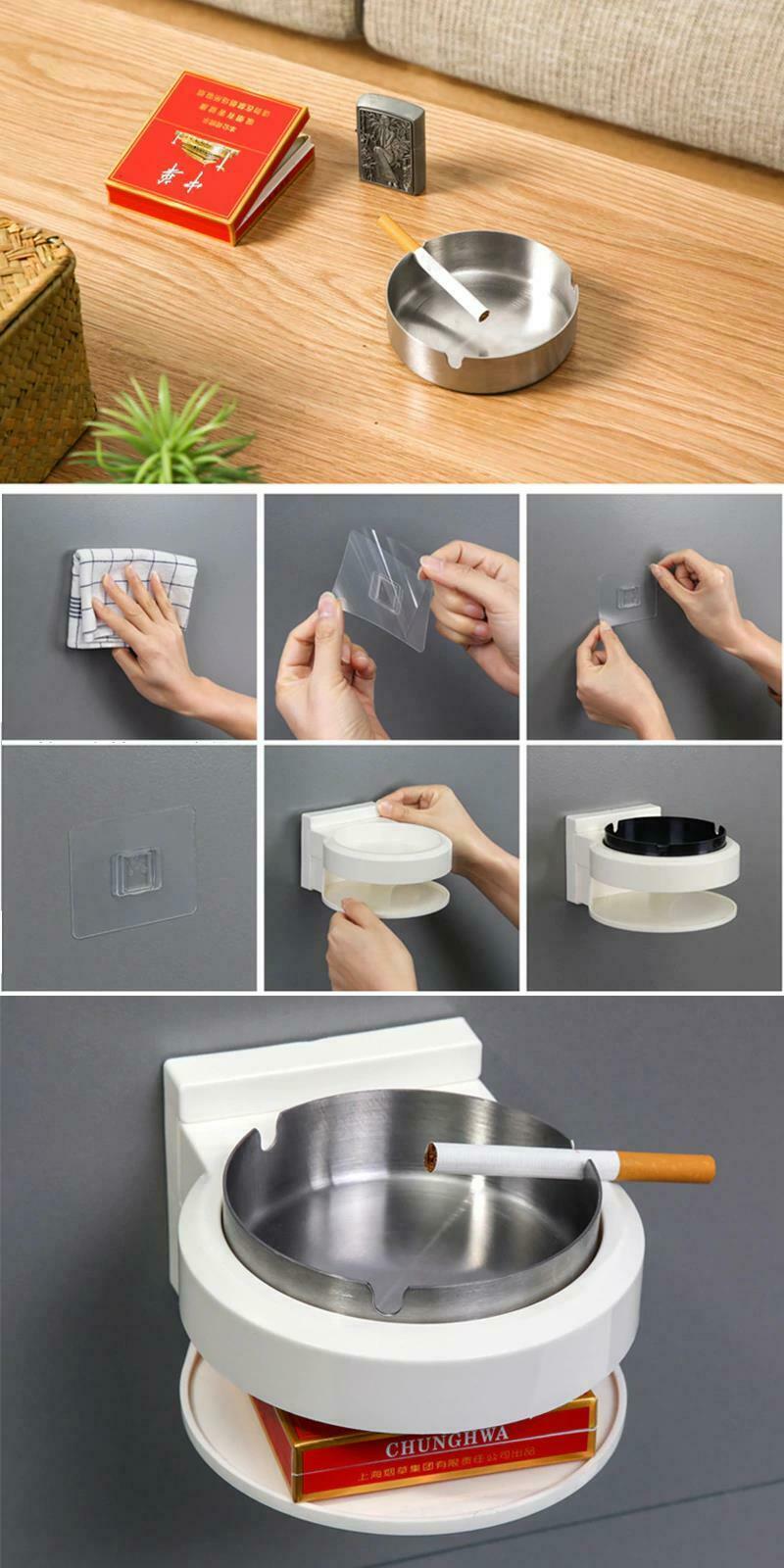 Stainless Steel Ashtray Creative Wall Mounted Bathroom Ash Storage Portable Box image 6