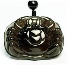 handmade natural Obsidian stone Hand carved  Crab charm hanmdade beaded pendant  - $38.60