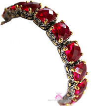 Beauty for Ashes Ruby Red Checker Two Tone Throne Room Chunky Tennis CZ ... - $382.50