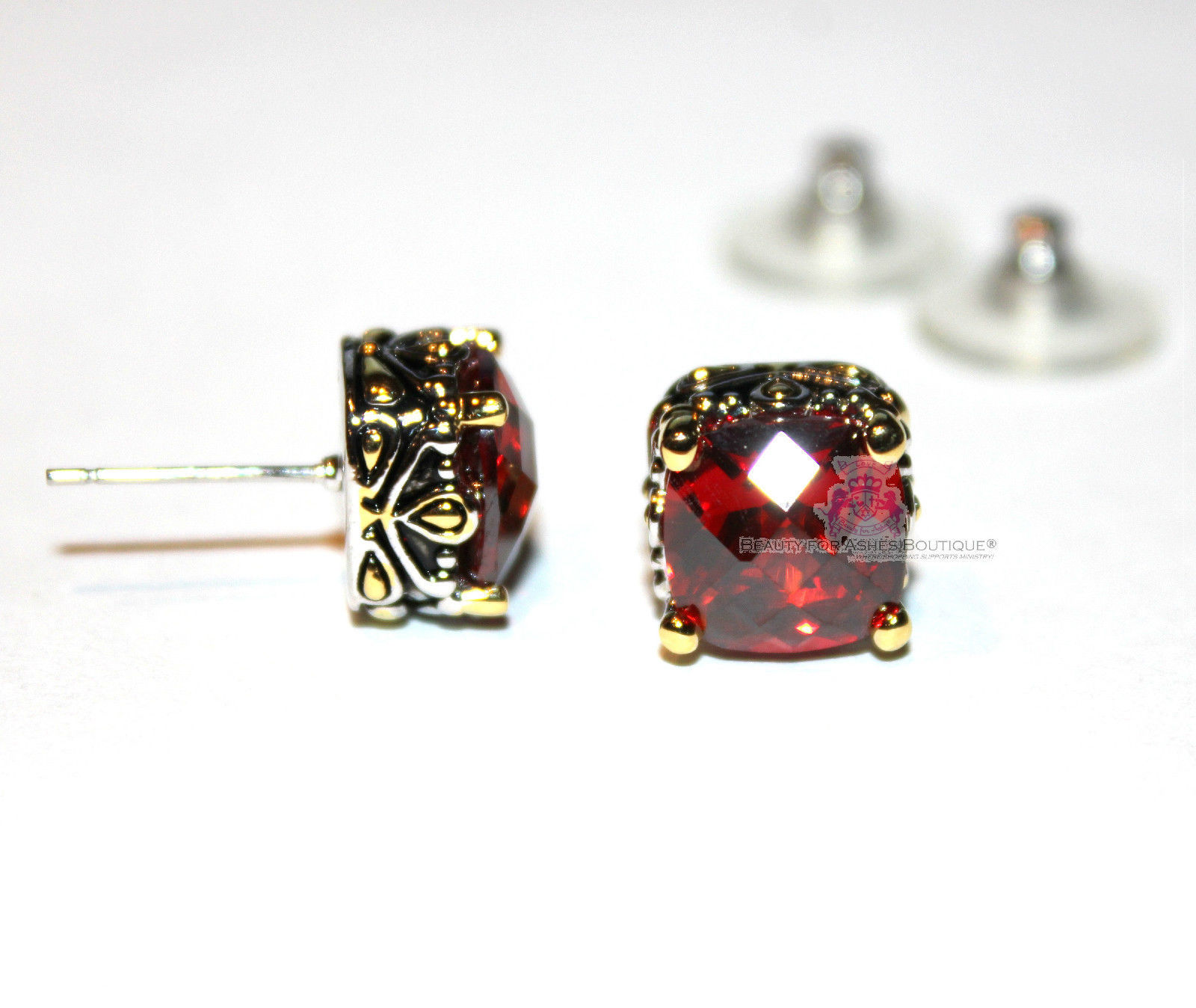 10mm Beauty for Ashes Checker Two Tone Throne Room Amethyst Purple CZ Earrings