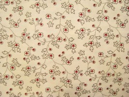 Cream Small Flowers with red Center on Cream Cotton Fabric  - $8.95