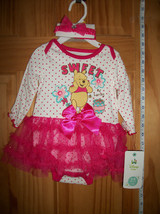 Disney Pooh Baby Clothes 3M-6M Sweet Winnie Bodysuit Tutu Creeper Set Ha... - $16.14