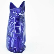 Vaneal Group Hand Crafted Carved Soapstone Dark Blue Sitting Kitty Cat Figurine