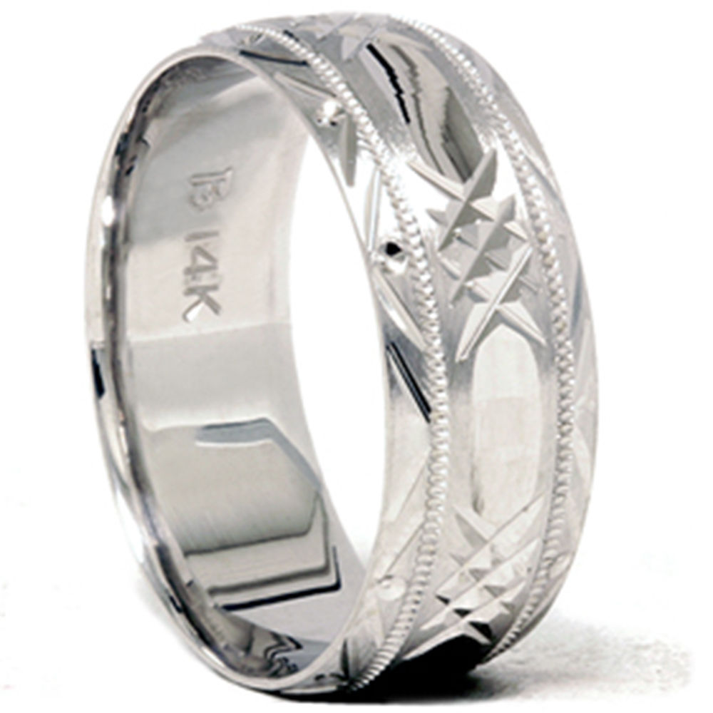 Mens solid 14k white gold 8mm swiss cut brushed wedding for Men wedding bands white gold