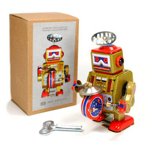 TIN TOY ROBOT Wind Up Metal Vintage Style Gold Gift NIB Cosmic SpaceColl... - $12.88