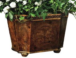 Stunning Burlwood Iron Planter,Cachepot,15'' x 11'' x 10''h. - $199.00