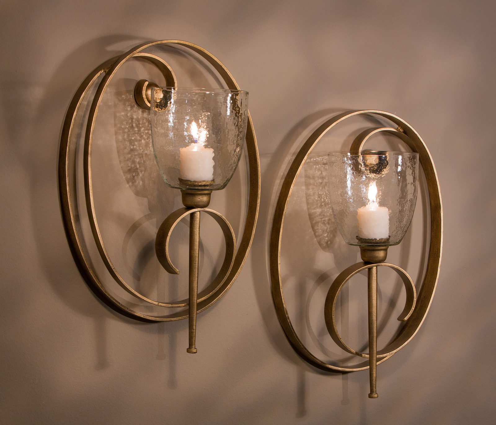 Set of 2 Antique Gold Iron Oval Scroll Wall Candle Sconces ...