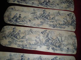Custom  Navy & Marbled Beige Country Life Romantic Toile Ceiling Fan With Light - $99.99