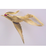 Vintage signed Crown Trifari bird in flight bro... - $30.00