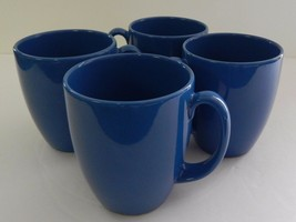 "4 Corelle Blue Stoneware Coffee Mugs  Tea Cups 12 oz 4"" Free Shipping Vi... - $29.69"