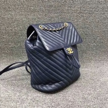 AUTH CHANEL NAVY BLUE CHEVRON QUILTED LEATHER LARGE URBAN SPIRIT BACKPACK SHW image 3