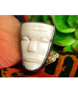 Vintage Carved Aztec Mayan White Mask Face Sterling Silver Brooch Pin - £45.84 GBP