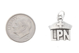 STERLING SILVER ONE SIDED LICENSED PRACTICAL NURSE LPN CHARM/PENDANT image 2