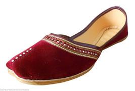 Women Shoes Indian Handmade Traditional Jutties Leather Maroon Mojari US 9  - $24.99