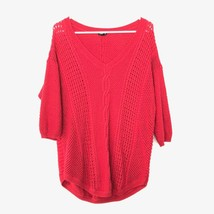 Torrid Cable Knit 3/4 Sleeve V Neck Pullover Sweater Wool Blend Red - $22.06