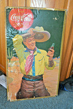 Vintage Coke Drink Coca Cola Cardboard  Sign store Display advertisement - $148.39