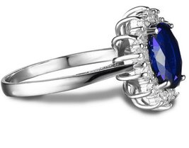 925 Sterling Silver Natural Fine Quality Blue Sapphire Glass Field Gemstone Hand image 2