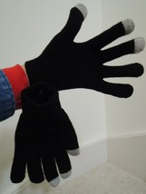 Texting Gloves ONE SIZE - Black With Gray Tips In Drawstring Bag - NWOT - $4.99
