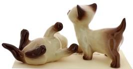Hagen-Renaker Miniature Cat Figurine Siamese Large Kitten on Back and Walking image 2