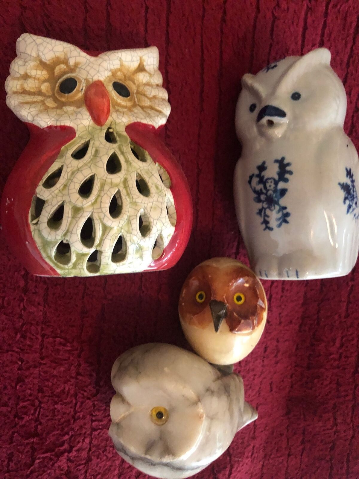 4 Owl Collectible Figurines 2 Marble Like or Alabaster Tea Light Holder Creamer