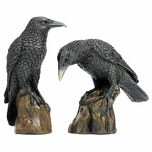 Design Toscano Mystic Night Raven Gothic Statues 6 Inch Set of Two Birds... - $59.95