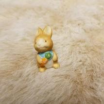 "Tiny 1.5"" Porcelain Baby Bunny with Carrot Blue Bib Figurine HOMCO? - $11.99"